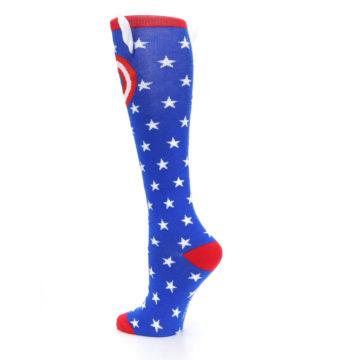 Image of Blue Red Captain American Women's Knee High Socks (side-2-back-14)
