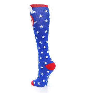 Image of Blue Red Captain American Women's Knee High Socks (side-2-back-15)