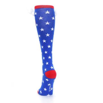 Image of Blue Red Captain American Women's Knee High Socks (back-17)
