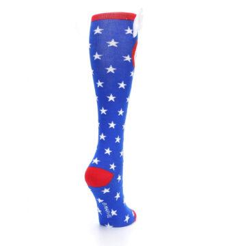 Image of Blue Red Captain American Women's Knee High Socks (side-1-back-21)