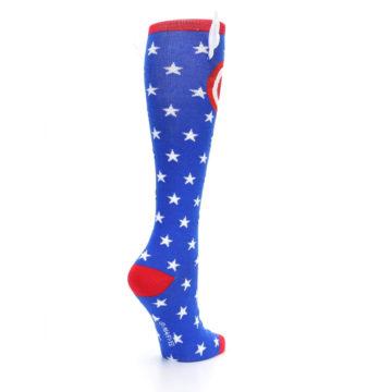 Image of Blue Red Captain American Women's Knee High Socks (side-1-back-22)