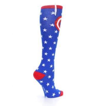 Image of Blue Red Captain American Women's Knee High Socks (side-1-23)
