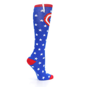 Image of Blue Red Captain American Women's Knee High Socks (side-1-24)