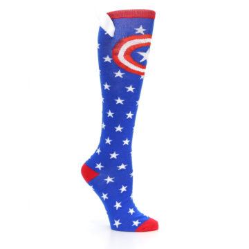Image of Blue Red Captain American Women's Knee High Socks (side-1-26)