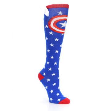 Image of Blue Red Captain American Women's Knee High Socks (side-1-27)