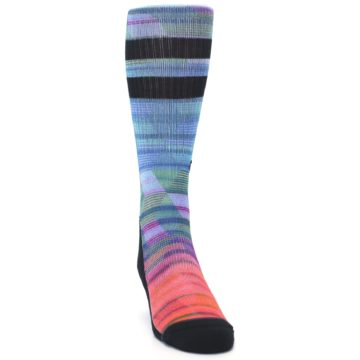 Image of Blue Green Neon Stripe Men's Casual Socks (side-1-front-03)