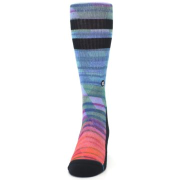 Image of Blue Green Neon Stripe Men's Casual Socks (front-05)