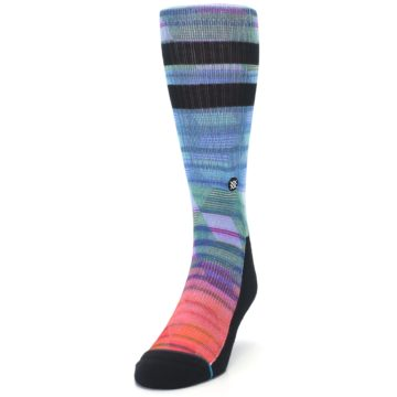 Image of Blue Green Neon Stripe Men's Casual Socks (side-2-front-06)