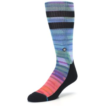 Image of Blue Green Neon Stripe Men's Casual Socks (side-2-front-08)