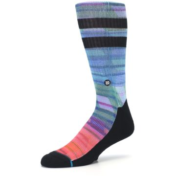 Image of Blue Green Neon Stripe Men's Casual Socks (side-2-09)