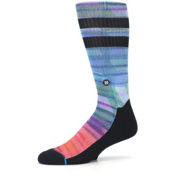 Image of Blue Green Neon Stripe Men's Casual Socks (side-2-10)