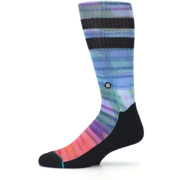 Image of Blue Green Neon Stripe Men's Casual Socks (side-2-11)