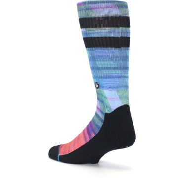 Image of Blue Green Neon Stripe Men's Casual Socks (side-2-back-14)