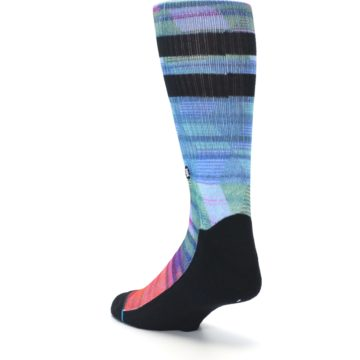 Image of Blue Green Neon Stripe Men's Casual Socks (side-2-back-15)