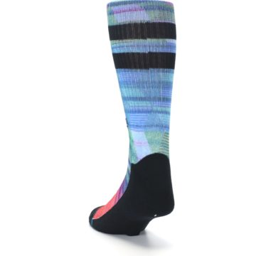 Image of Blue Green Neon Stripe Men's Casual Socks (side-2-back-16)