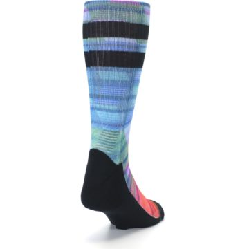 Image of Blue Green Neon Stripe Men's Casual Socks (side-1-back-20)