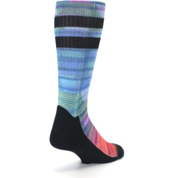 Image of Blue Green Neon Stripe Men's Casual Socks (side-1-back-21)