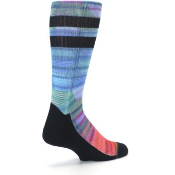 Image of Blue Green Neon Stripe Men's Casual Socks (side-1-back-22)