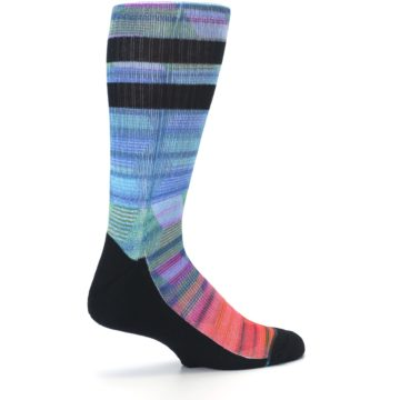 Image of Blue Green Neon Stripe Men's Casual Socks (side-1-23)