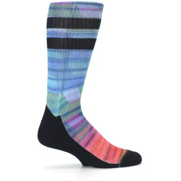 Image of Blue Green Neon Stripe Men's Casual Socks (side-1-24)