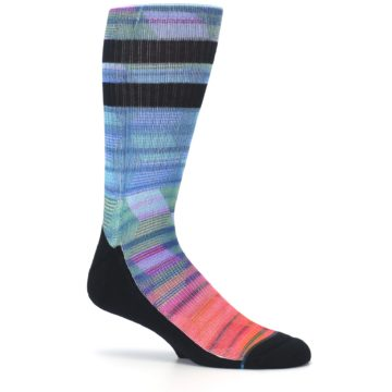 Image of Blue Green Neon Stripe Men's Casual Socks (side-1-25)