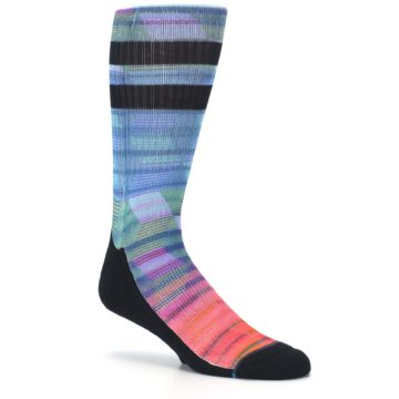 Image of Blue Green Neon Stripe Men's Casual Socks (side-1-26)