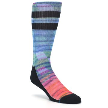 Image of Blue Green Neon Stripe Men's Casual Socks (side-1-27)