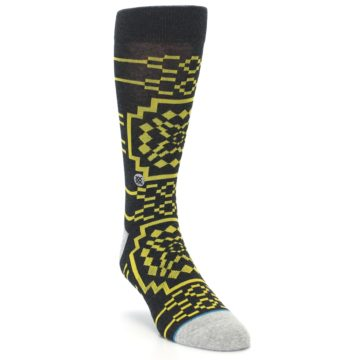 Image of Charcoal Yellow Patterned Men's Casual Socks (side-1-front-02)