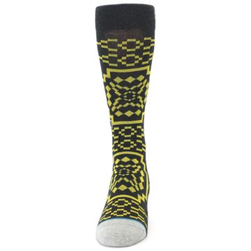 Image of Charcoal Yellow Patterned Men's Casual Socks (front-05)