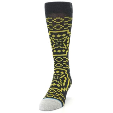 Image of Charcoal Yellow Patterned Men's Casual Socks (side-2-front-06)