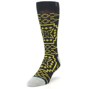 Image of Charcoal Yellow Patterned Men's Casual Socks (side-2-front-07)