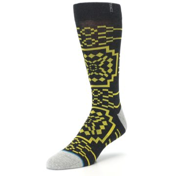 Image of Charcoal Yellow Patterned Men's Casual Socks (side-2-front-08)