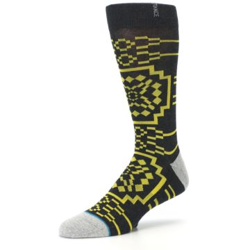 Image of Charcoal Yellow Patterned Men's Casual Socks (side-2-09)