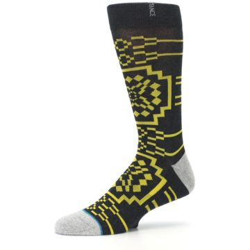 Image of Charcoal Yellow Patterned Men's Casual Socks (side-2-10)