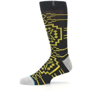 Image of Charcoal Yellow Patterned Men's Casual Socks (side-2-11)