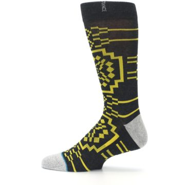 Image of Charcoal Yellow Patterned Men's Casual Socks (side-2-12)