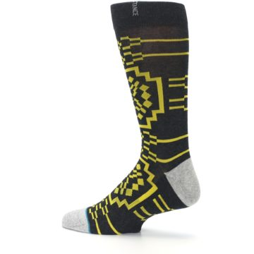 Image of Charcoal Yellow Patterned Men's Casual Socks (side-2-13)