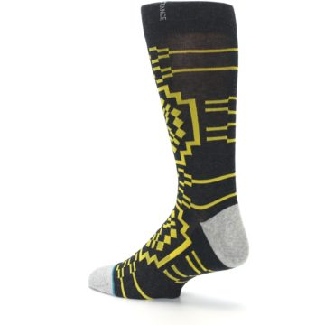 Image of Charcoal Yellow Patterned Men's Casual Socks (side-2-back-14)