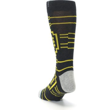 Image of Charcoal Yellow Patterned Men's Casual Socks (side-2-back-16)