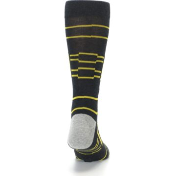Image of Charcoal Yellow Patterned Men's Casual Socks (back-19)