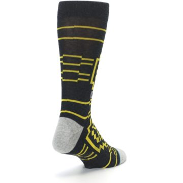 Image of Charcoal Yellow Patterned Men's Casual Socks (side-1-back-21)