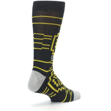 Image of Charcoal Yellow Patterned Men's Casual Socks (side-1-back-22)