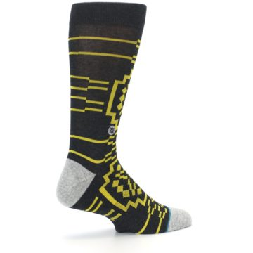 Image of Charcoal Yellow Patterned Men's Casual Socks (side-1-23)