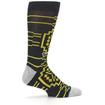 Image of Charcoal Yellow Patterned Men's Casual Socks (side-1-24)