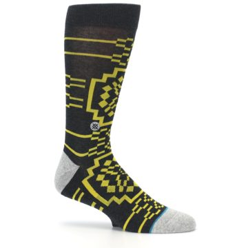 Image of Charcoal Yellow Patterned Men's Casual Socks (side-1-25)