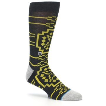 Image of Charcoal Yellow Patterned Men's Casual Socks (side-1-26)