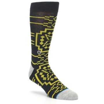 Image of Charcoal Yellow Patterned Men's Casual Socks (side-1-27)