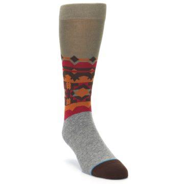 Image of Grey Orange Tribal Pattern Men's Casual Socks (side-1-front-02)