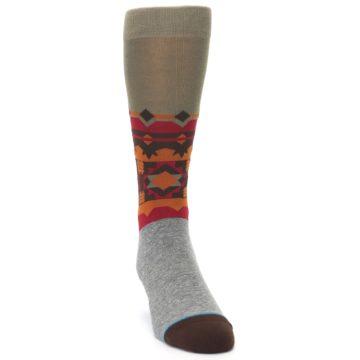 Image of Grey Orange Tribal Pattern Men's Casual Socks (side-1-front-03)