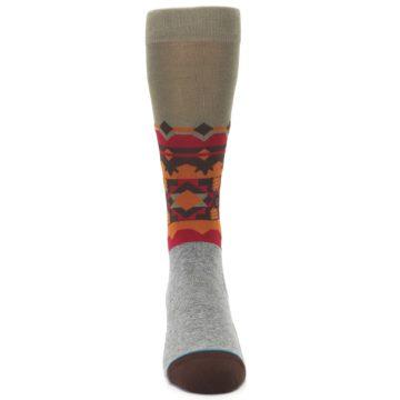 Image of Grey Orange Tribal Pattern Men's Casual Socks (front-04)